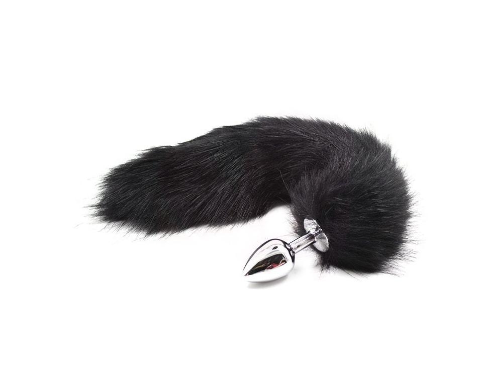 Kovový anální kolík s liščím ocáskem, černý