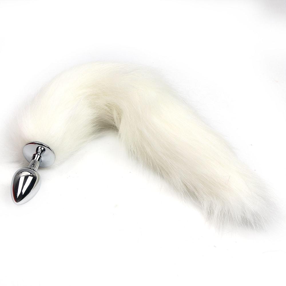 Kovový anální kolík s liščím ocáskem, bílý