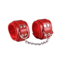 Leather handcuffs - Red / Red