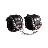 Leather handcuffs decorated - black / black