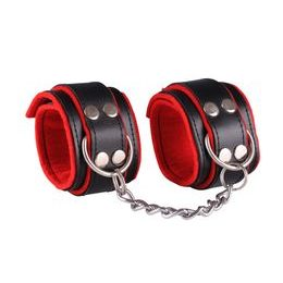 Leather handcuffs - black / red