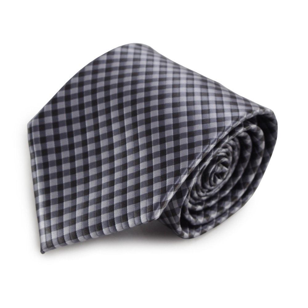 Šedá mikrovláknová kravata s kostičkovaným vzorem