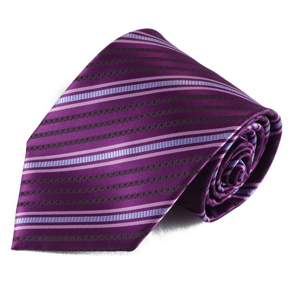Fialová pruhovaná mikrovláknová kravata