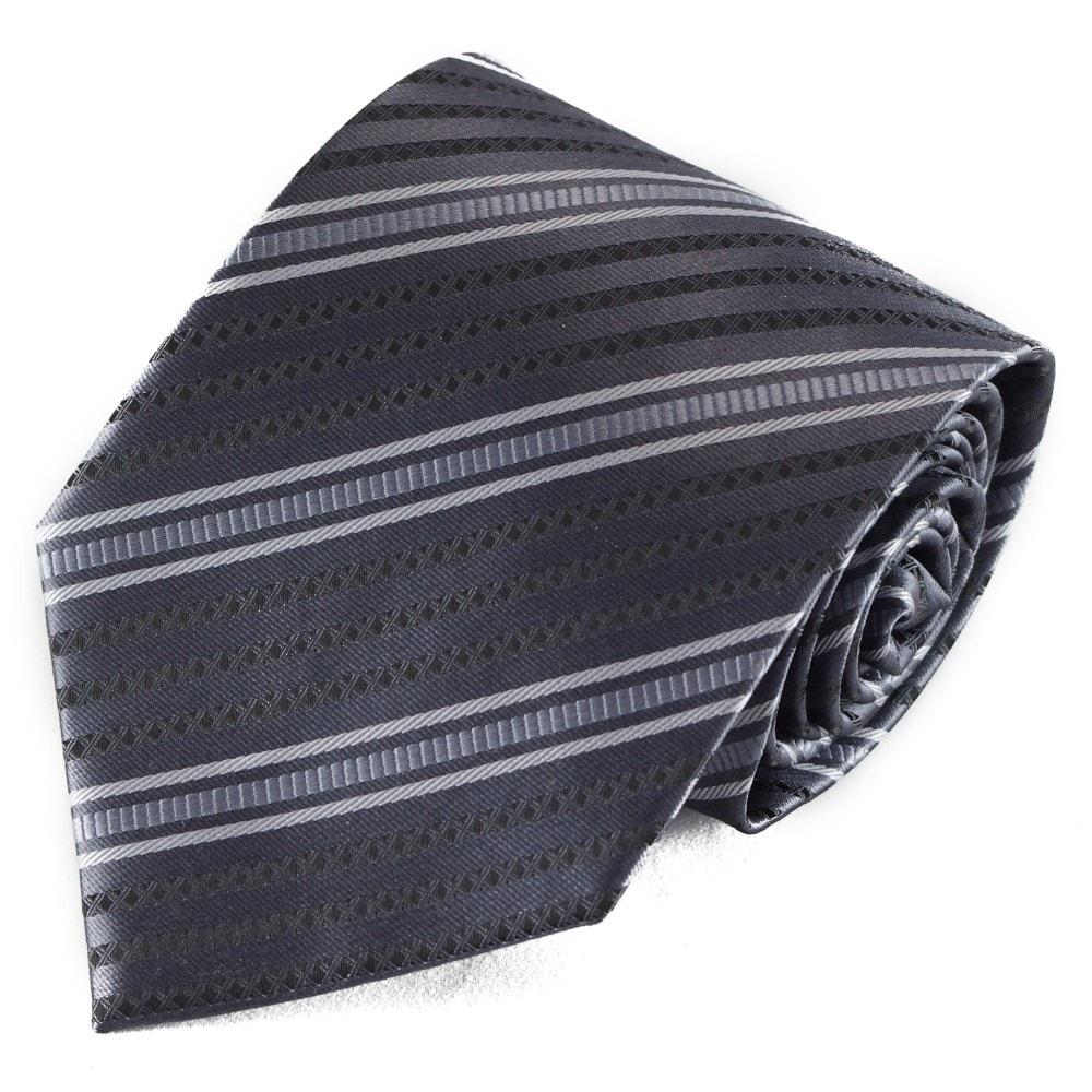 Šedá pruhovaná mikrovláknová kravata