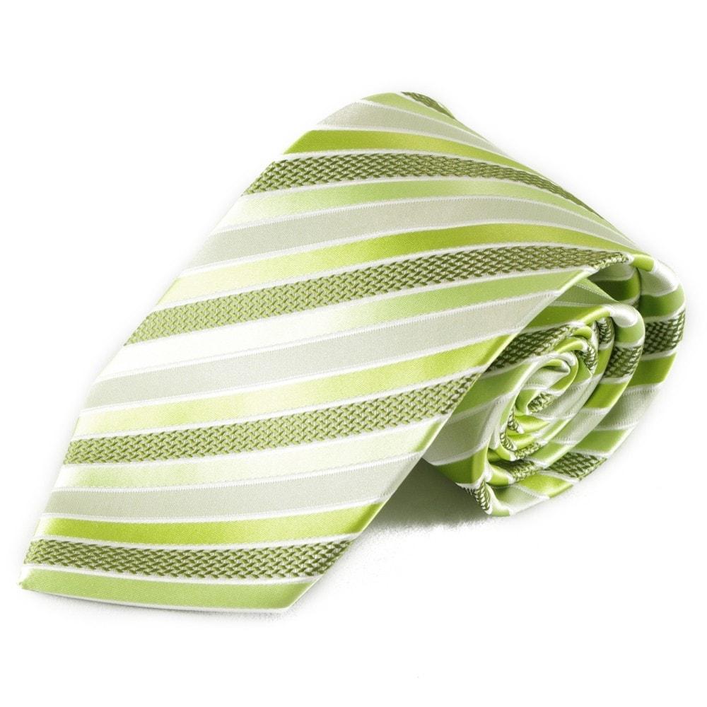 Zelená pruhovaná mikrovláknová kravata
