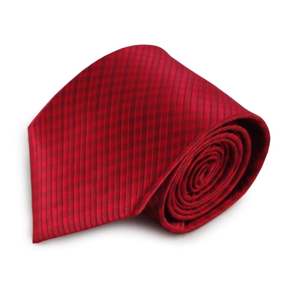 Červená mikrovláknová kravata s kostičkovaným vzorem