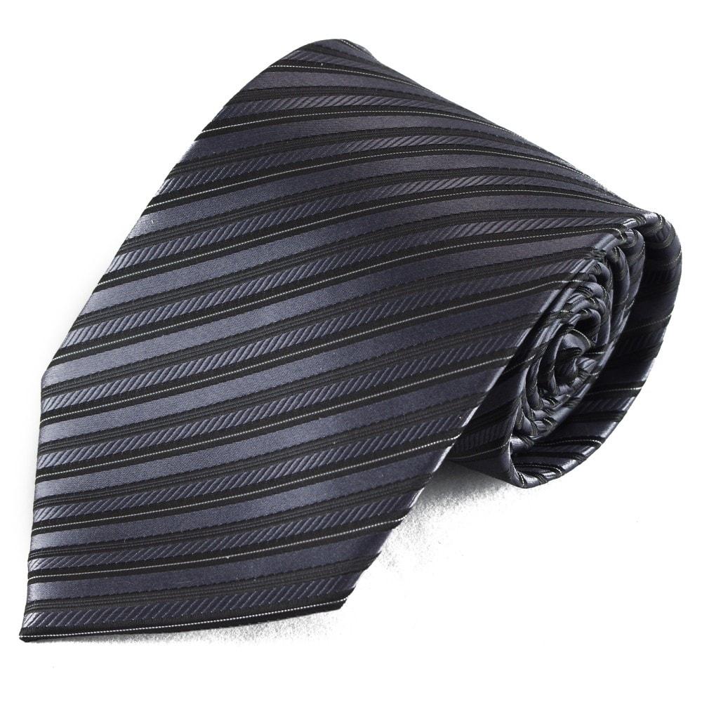 Tmavě šedá pruhovaná mikrovláknová kravata