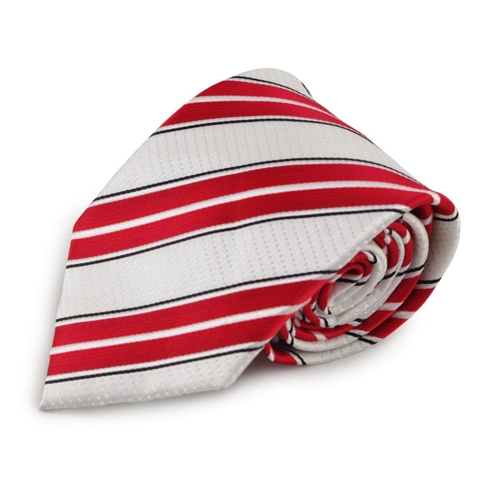 Proužkovaná mikrovláknová kravata (bílá, červená)