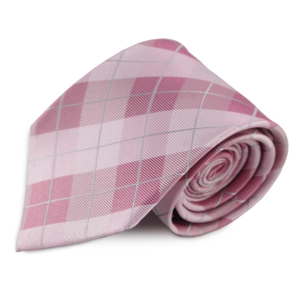 Růžová hedvábná károvaná kravata