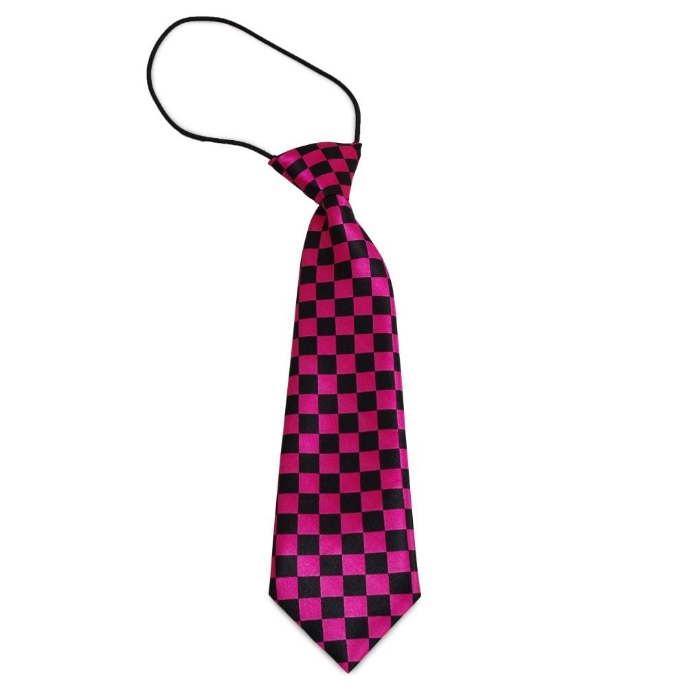 Dětská kostičkovaná kravata (černá, růžová)