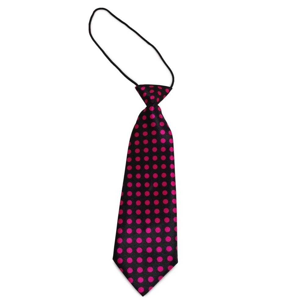Dětská černá kravata s růžovými puntíky