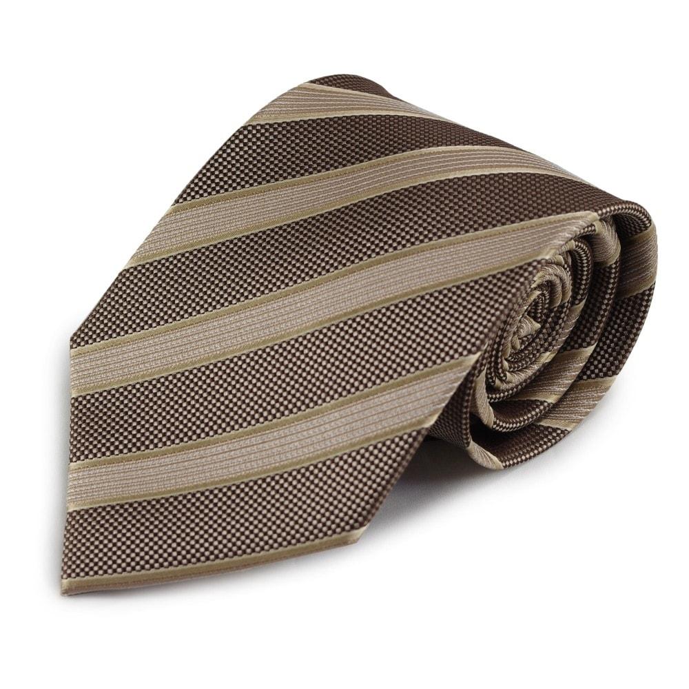 Pruhovaná hedvábná kravata (hnědá, béžová)