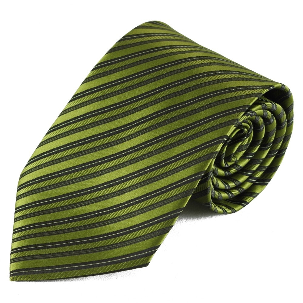 Výrazná zelená pruhovaná mikrovláknová kravata