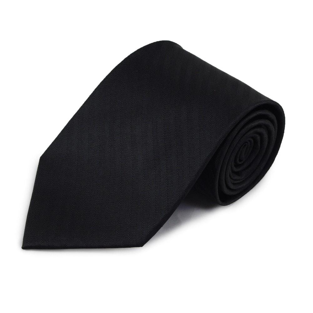 Černá hedvábná kravata s jemnými proužky