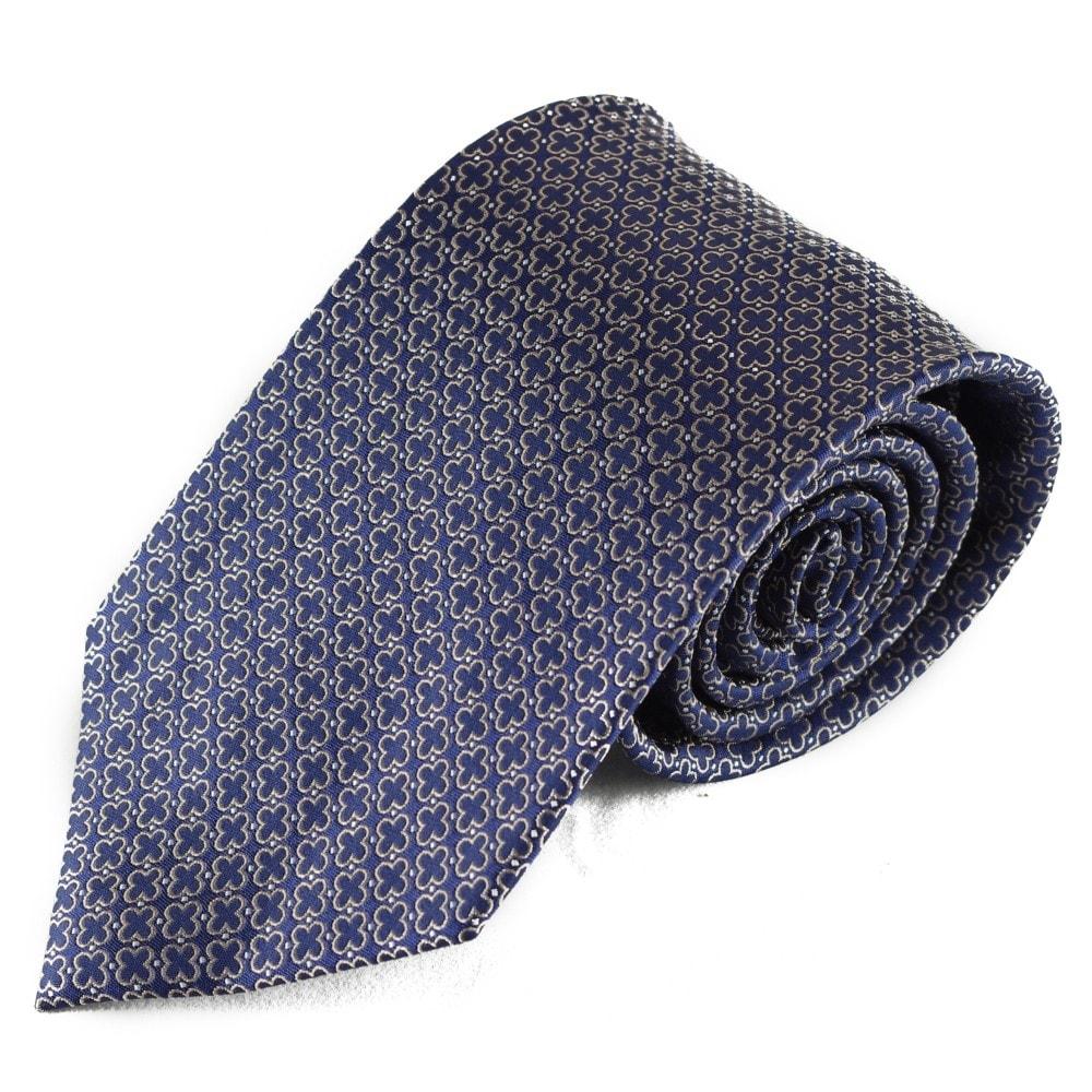 Modrá hedvábná kravata s křížovým vzorkem
