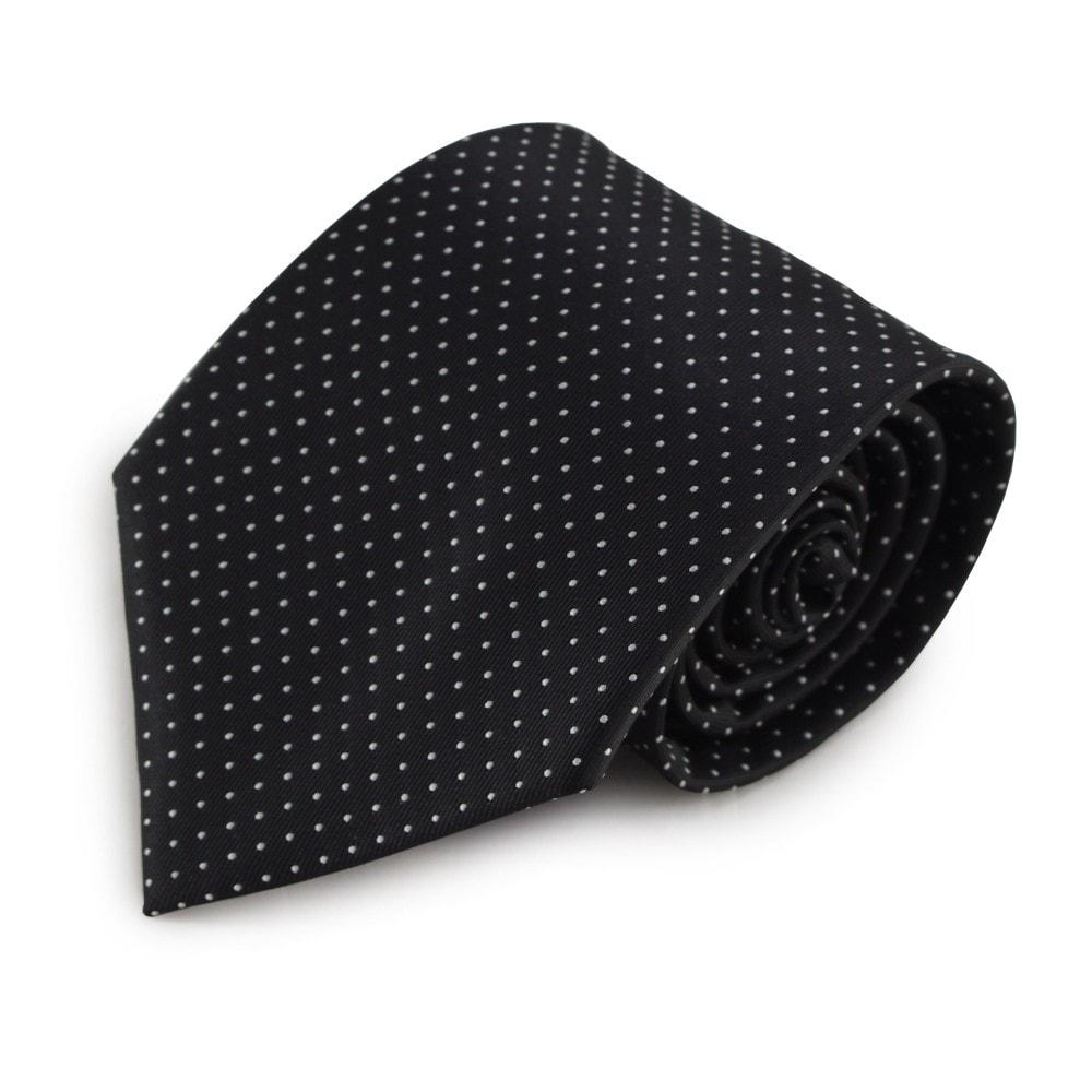 Černá mikrovláknová kravata s jemným vzorkem (bílá)