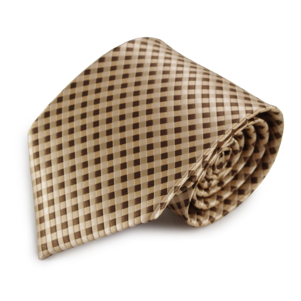 Hnědá mikrovláknová kravata s kostičkovaným vzorem