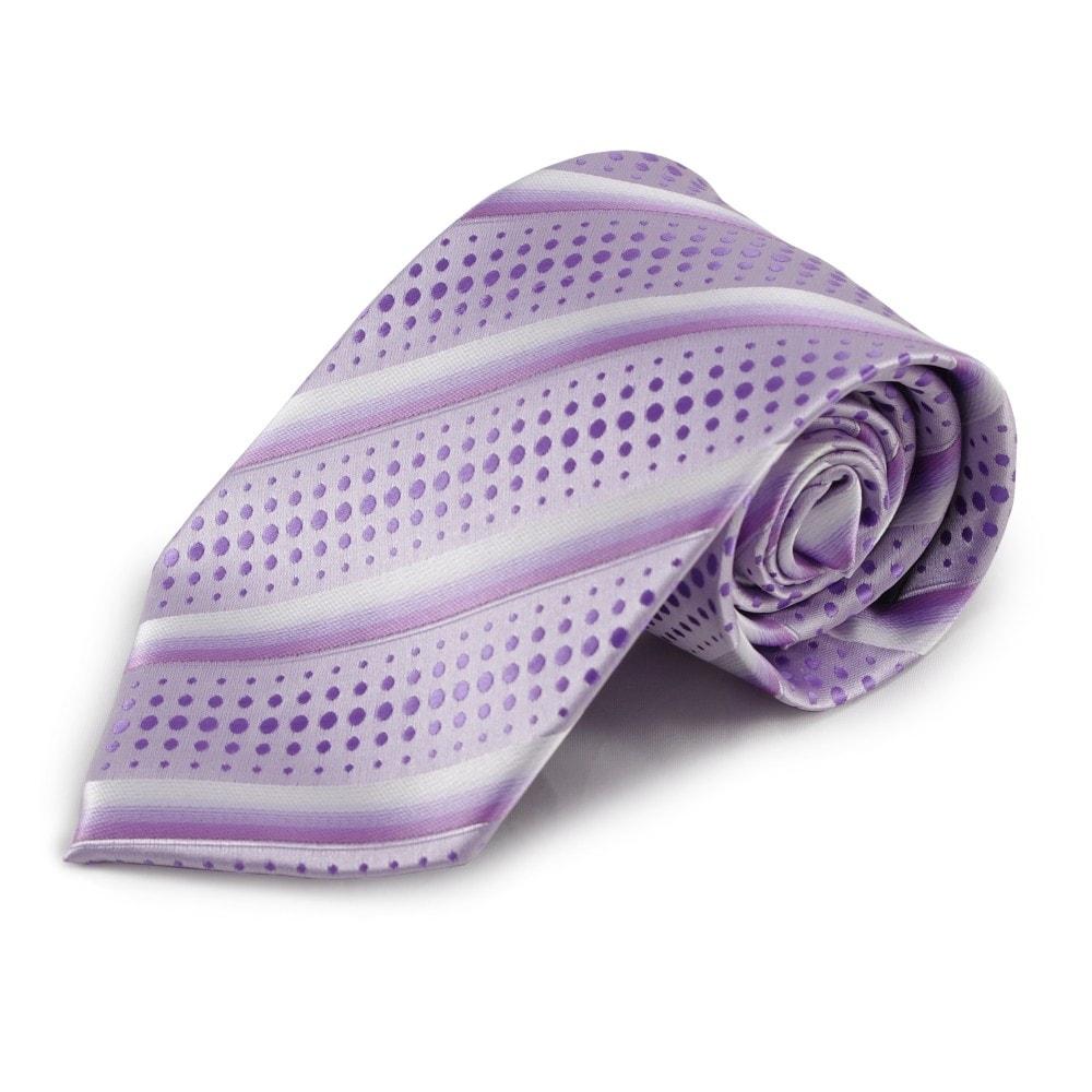 Fialová (šeříková) pruhovaná mikrovláknová kravata s puntíkovaným vzorem