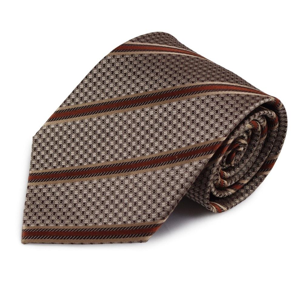 Hnědá hedvábná kravata s proužkem