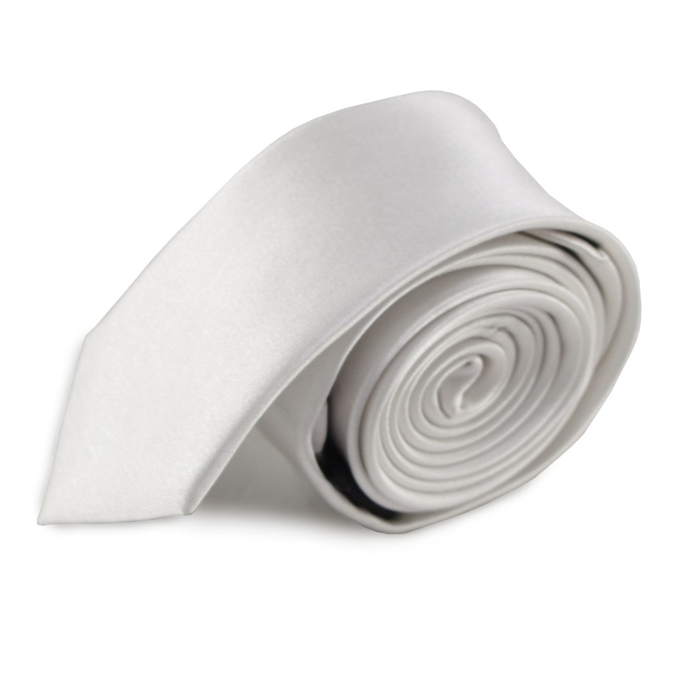 Bílá jednobarevná úzká hedvábná kravata