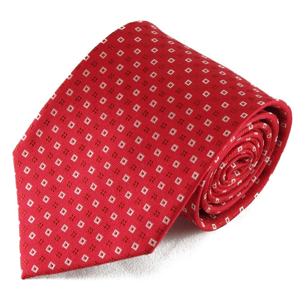 Červená hedvábná kravata se čtvercovým vzorkem (bílá)