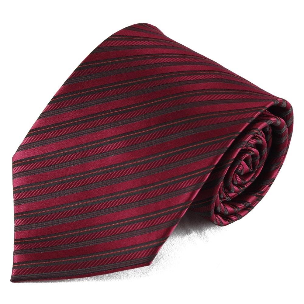 Výrazná červená pruhovaná mikrovláknová kravata