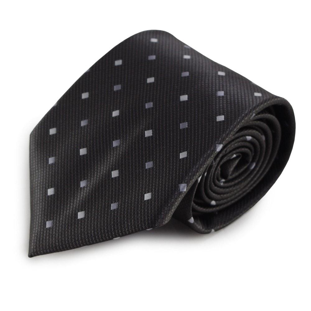 Šedá mikrovláknová kravata s kostičkovým vzorkem
