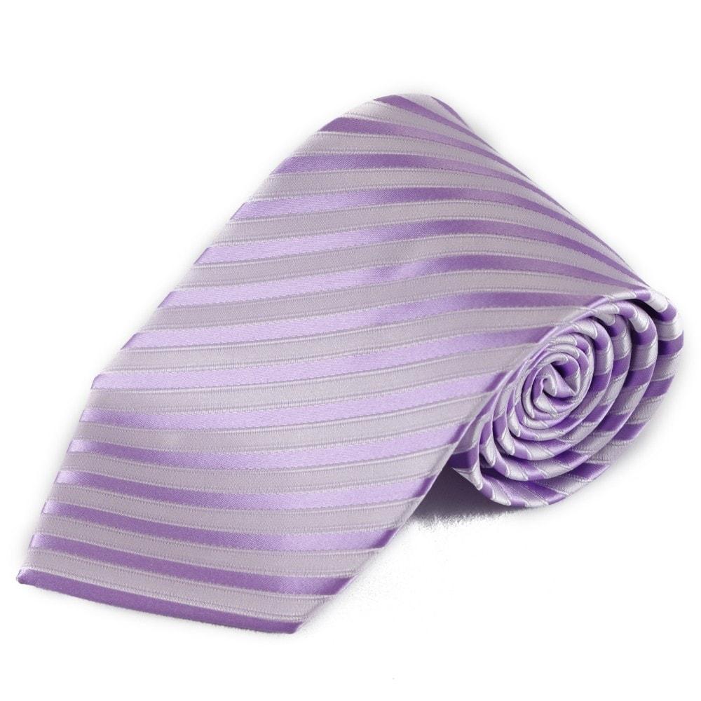 Světlá fialová pruhovaná mikrovláknová kravata