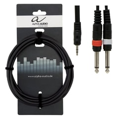 Alpha Audio Basic Line Audio, Y-Kabel 1,5 m, 2x 6,3 jack - 3,6 stereo jack